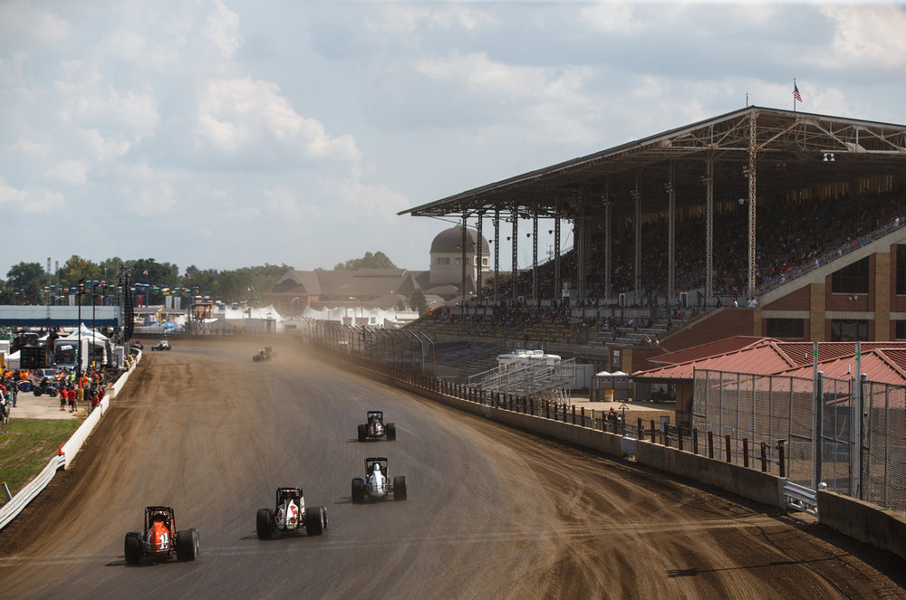 Drives head down the front stretch into turn one during the USAC Silver Crown Bettenhausen 100 on the Springfield Mile at the Illinois State Fairgrounds, Saturday, Aug. 19, 2017, in Springfield, Ill. [Justin L. Fowler/The State Journal-Register]