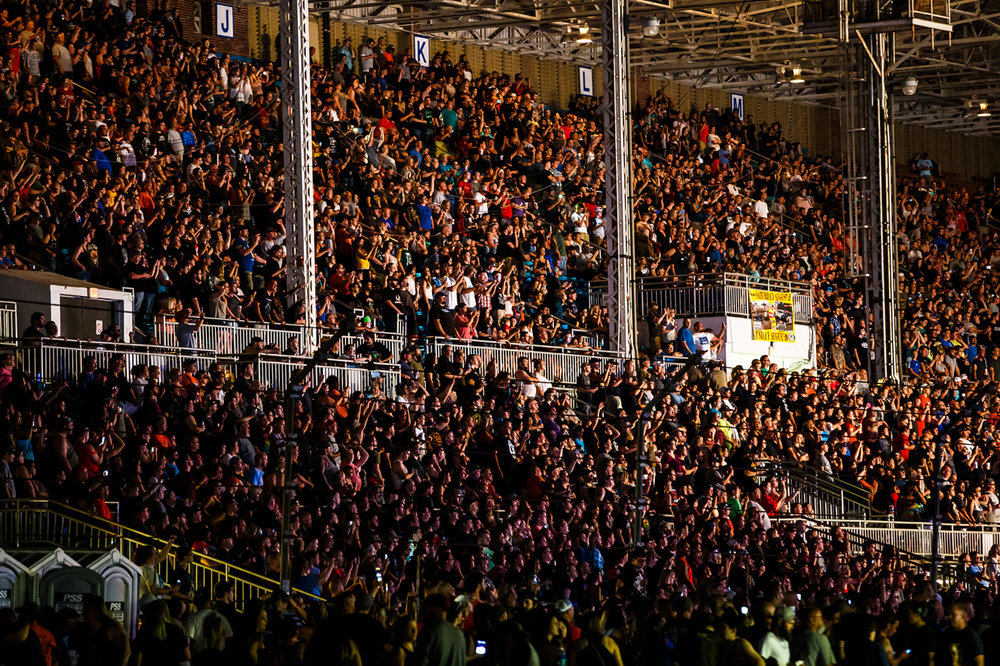 A packed house sees Five Finger Death Punch perform on the Grandstand Stage at the Illinois State Fairgrounds, Saturday, Aug. 19, 2017, in Springfield, Ill. [Justin L. Fowler/The State Journal-Register]