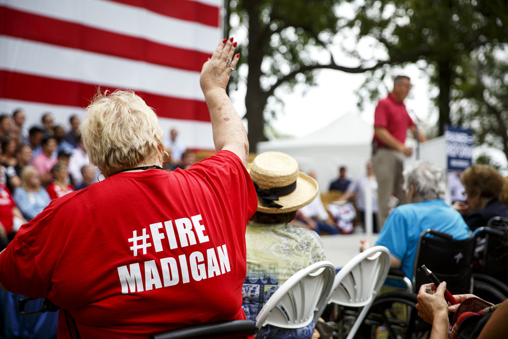 A Republican supporter wears a t-shirt with a reference to Illinois House Speaker Michael Madigan at a Republican Day rally at the Illinois State Fair in Springfield, Ill. Wednesday, Aug. 16, 2017. [Rich Saal/The State Journal-Register]