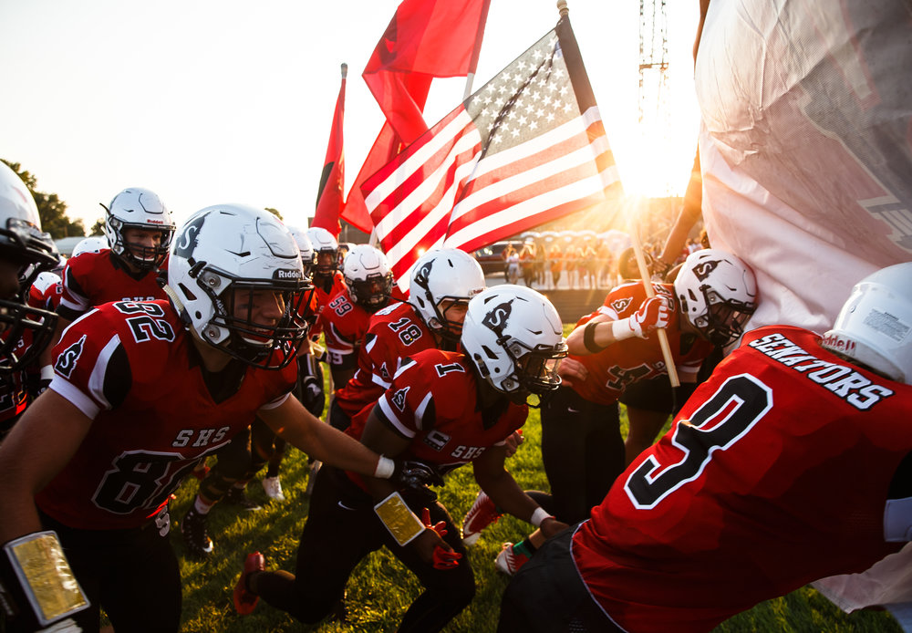 The Springfield Senators take the field to take on Normal U-High at Memorial Stadium, Friday, Aug. 25, 2017, in Springfield, Ill. [Justin L. Fowler/The State Journal-Register]