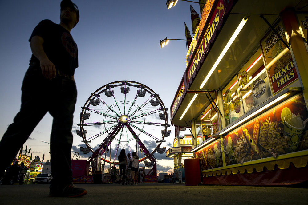 Twilight descends on the carnival midway at the Illinois State Fair Thursday, Aug. 17, 2017. [Rich Saal/The State Journal-Register]