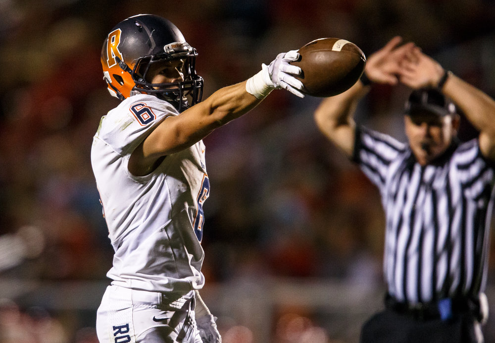 Rochester's Cade Eddington (6) motions for a first down after making a diving catch on a deep pass against Glenwood in the second quarter at Glenwood High School, Friday, Sept. 1, 2017, in Chatham, Ill. [Justin L. Fowler/The State Journal-Register]