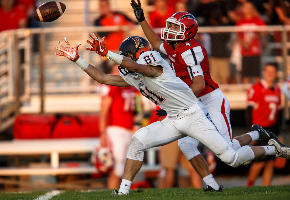 A pass goes out of reach of Rochester's Jayden Reed (81) as he is covered by Glenwood's Jason Hansbrough (8) in the first quarter at Glenwood High School, Friday, Sept. 1, 2017, in Chatham, Ill. [Justin L. Fowler/The State Journal-Register]