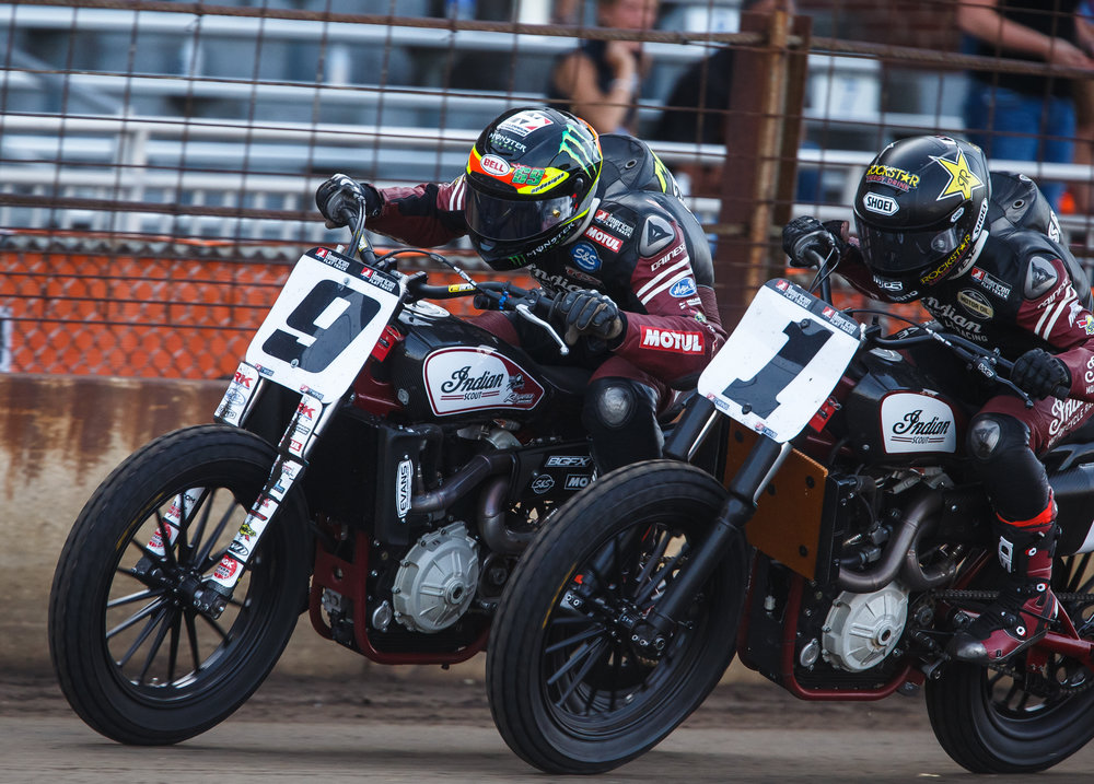 Jared Mees (9) and Bryan Smith (1), both on Indian Scout FTR750s, are neck and neck down the front stretch in the closing laps during the AMA Harley-Davidson Springfield Mile II at the Illinois State Fairgrounds, Sunday, Sept. 3, 2017, in Springfield, Ill. [Justin L. Fowler/The State Journal-Register]