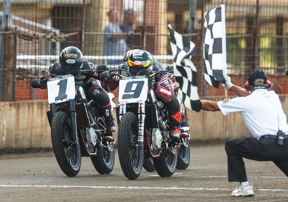 Jared Mees (9) edges out Bryan Smith (1) for the victory at the finish line during the AMA Harley-Davidson Springfield Mile II at the Illinois State Fairgrounds, Sunday, Sept. 3, 2017, in Springfield, Ill. [Justin L. Fowler/The State Journal-Register]