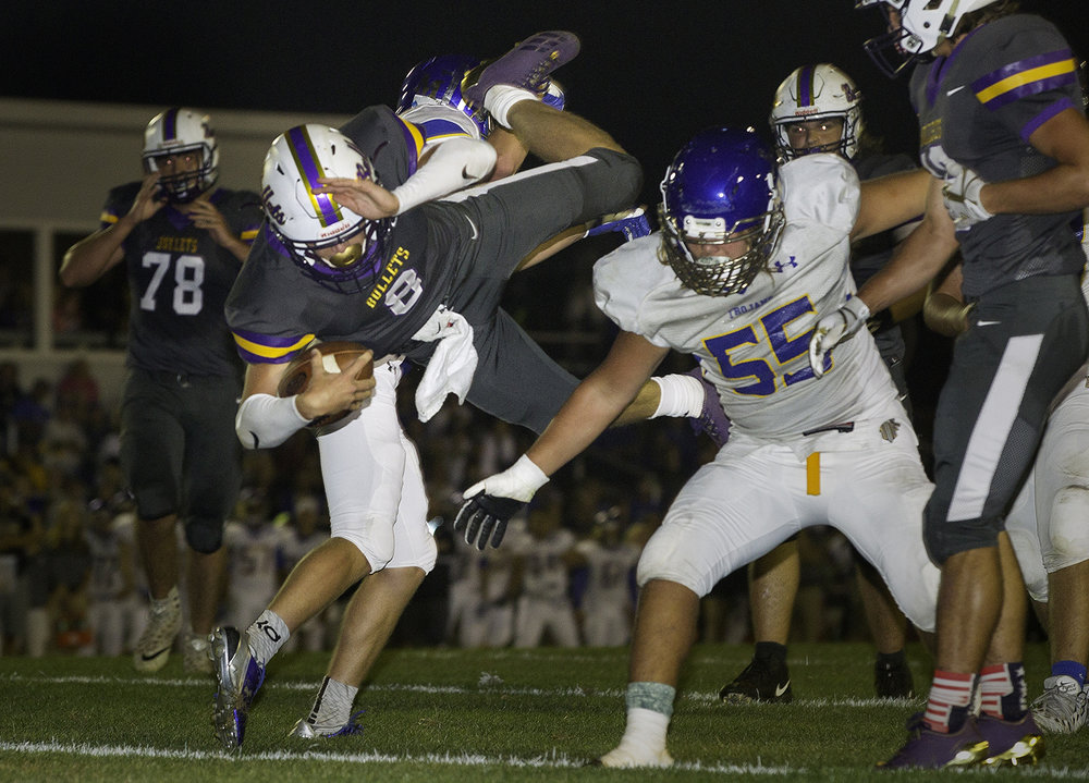 Williamsville's Justice Ferrier dives into the endzone for a first-half touchdown at Williamsville High School Friday, Sept. 8, 2017. [Ted Schurter/The State Journal-Register]