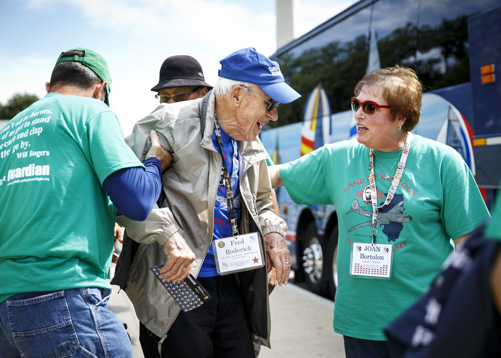 Fred Roderick chats with Land of Lincoln Honor Flight president Joan Bortolon after touring the U.S.Air Force Memorial. Roderick was one of three World War II veterans on the flight.