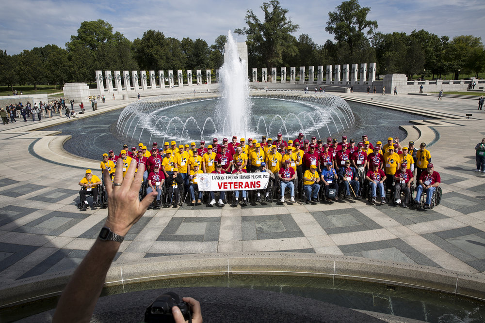 Members of the 46th Land of Lincoln Honor Flight pose for a photo at the World War II Memorial Tuesday, Sept. 12, 2017 in Washington, D.C. [Photo by Rich Saal/The State Journal-Register]