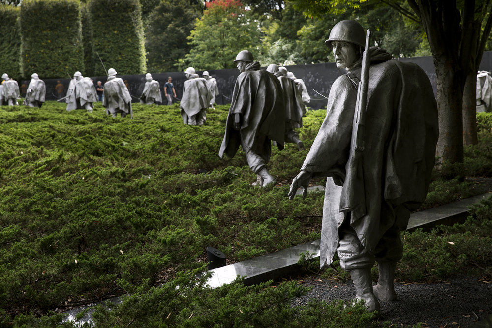 The centerpiece of the Korean War Veterans Memorial in Washington, D.C.are 19 stainless steel statues depicting 14 Army, 3 Marine, 1 Navy and 1 Air Force member marching through Korean rice paddies. It was dedicated in June 1995.[Photo by Rich Saal/The State Journal-Register]