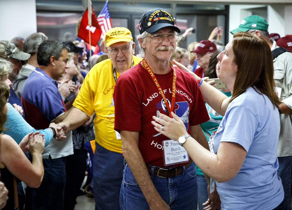 "Frank Burch described the welcome at Capital Airport in simple terms. ""Overwhelming,"" he said. Families and relatives and strangers reached out and thanked the veterans for their service. Burch is a Marine Corps veteran of the Vietnam War and a graduate of Lanphier High School."