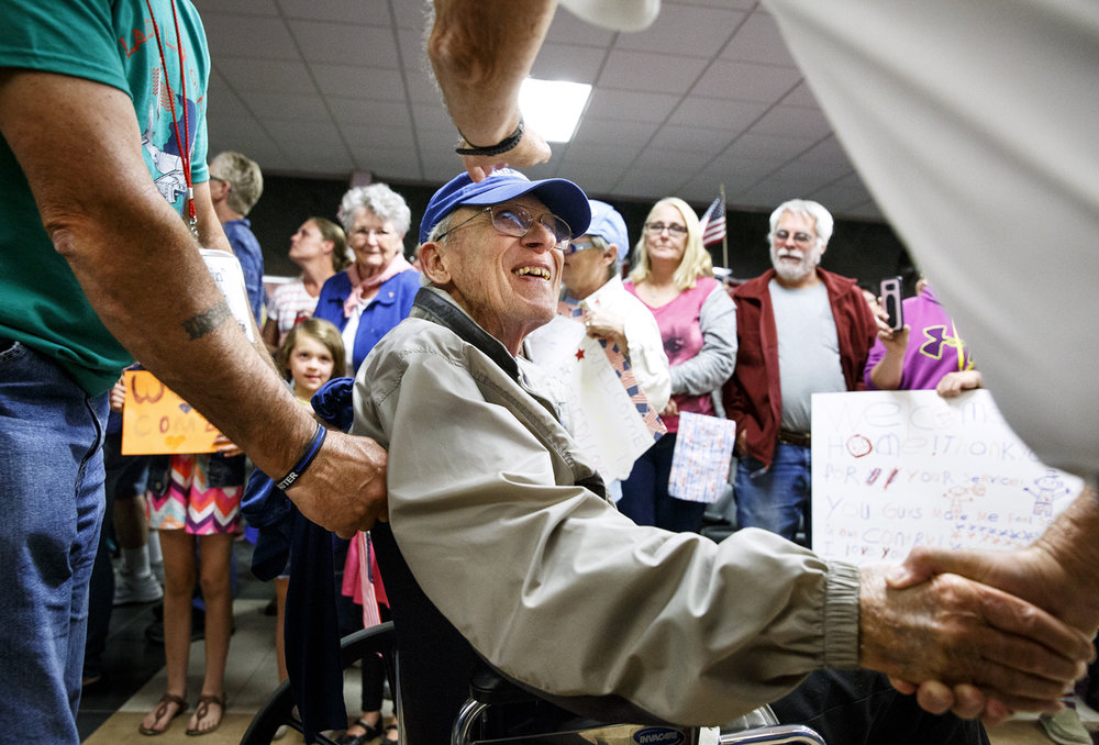 Fred Roderick is greeted at Capital Airport after returning from Washington. Roderick is a U.S. Army Air Corps veteran of World War II and lives in Riverton.