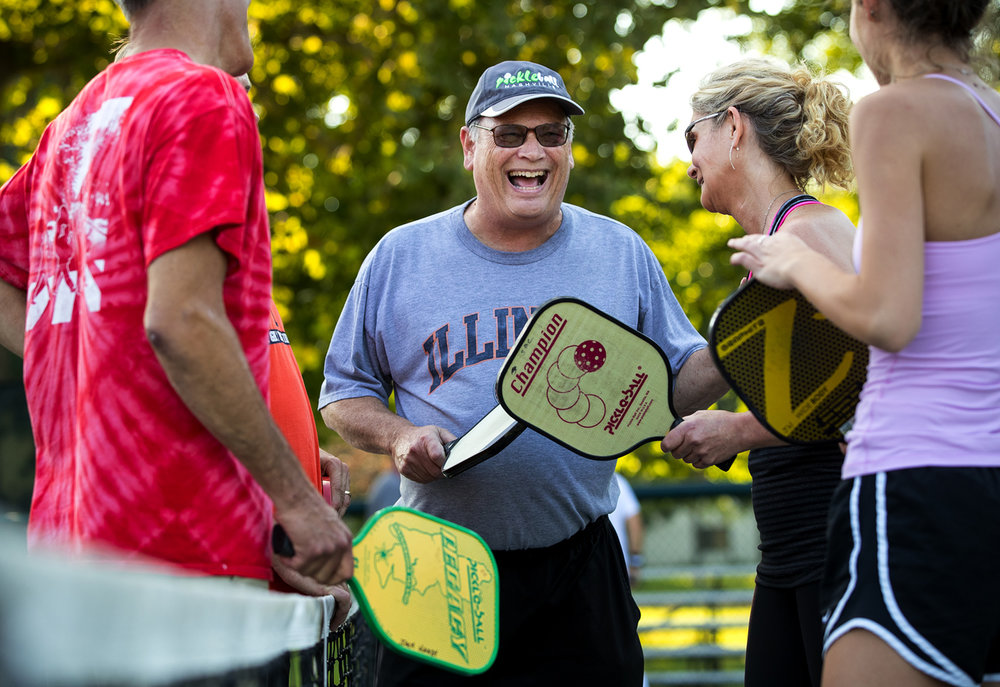 Jack Handy is back on the pickleball court at Iles Park though he spends more time teaching beginners than playing after a bout of West Nile virus, possibly picked up while he was playing pickleball, left him hospitalized for 12 days and with lingering respiratory stamina issues. [Ted Schurter/The State Journal-Register]