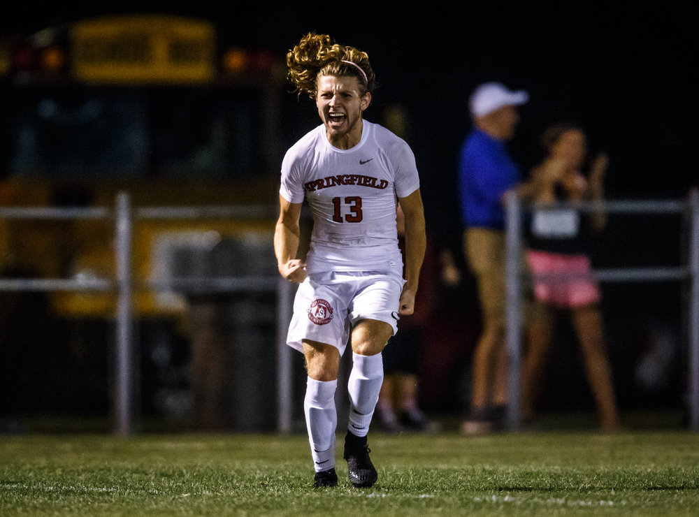 Springfield's Kelby Phillips (13) reacts after his third goal of the game wins it in overtime against Glenwood at Lee Field, Tuesday, Sept. 19, 2017, in Springfield, Ill. [Justin L. Fowler/The State Journal-Register]