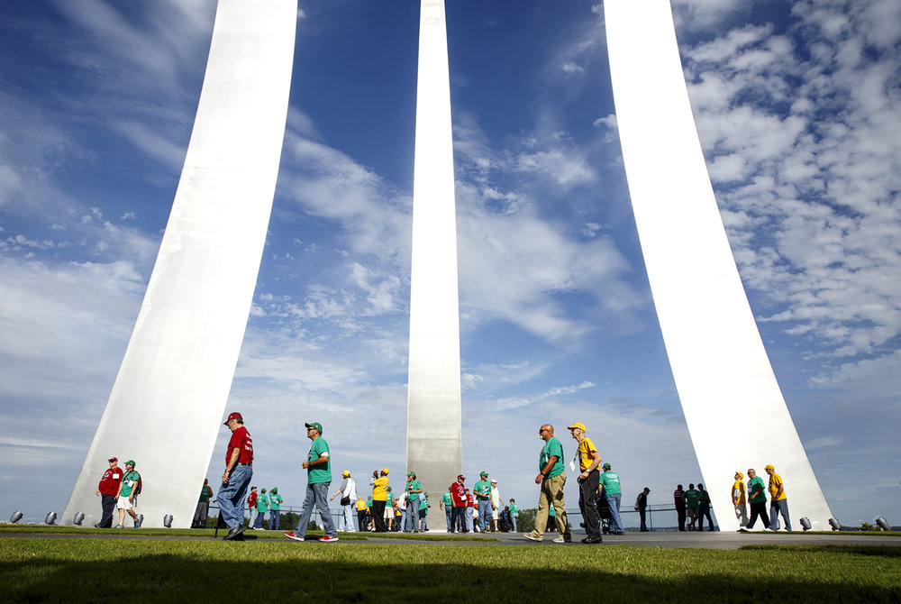 Members of the Land of Lincoln Honor Flight tour the Air Force Memorial at Arlington National Cemetery in Washington, D.C. Tuesday, Sept. 12, 2017. [Rich Saal/The State Journal-Register]