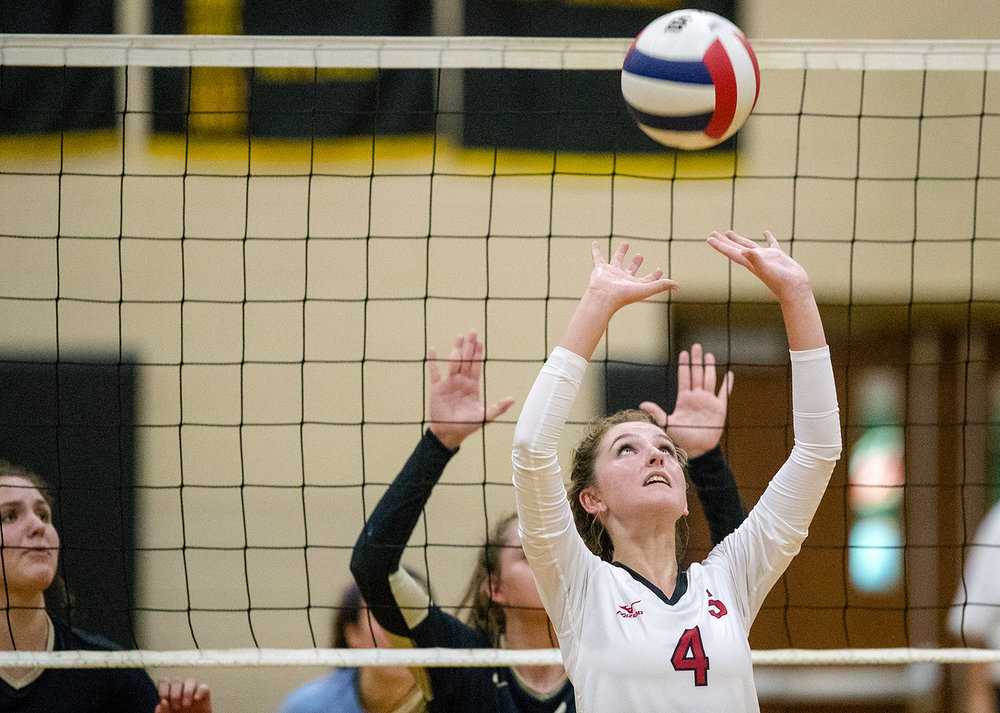 Olivia Riemer passes the ball during the City Volleyball Tournament at Belz Gymnasium Thursday, Sept. 21, 2017. [Ted Schurter/The State Journal-Register]