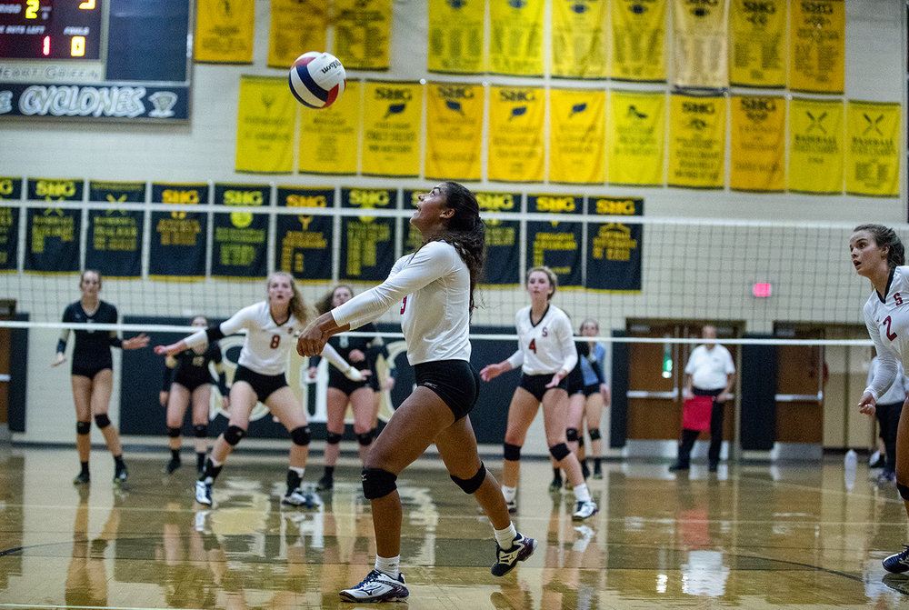 Springfield's Rekha Goswami bumps the ball during the City Volleyball Tournament at Belz Gymnasium Thursday, Sept. 21, 2017. [Ted Schurter/The State Journal-Register]