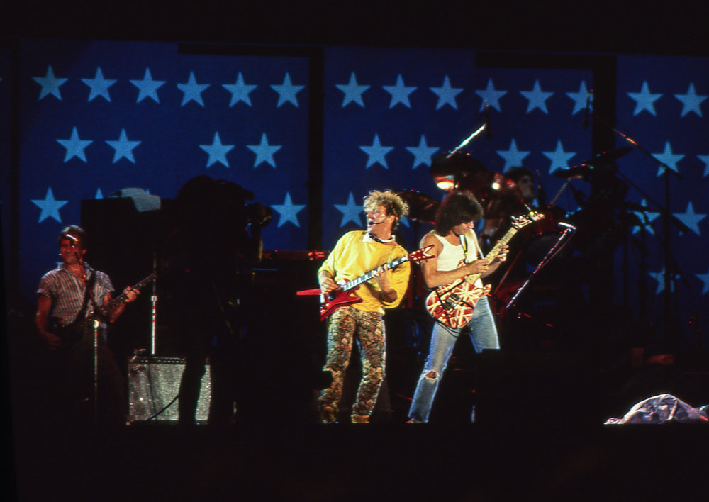 "Rock history was made when Sammy Hagar and Eddie Van Halen performed together for the first time at the Farm Aid concert at Memorial Stadium in Champaign, Ill. Sept. 22, 1985. The played a cover of Led Zepplin's ""Rock and Roll."" [File/The State Journal-Register]"