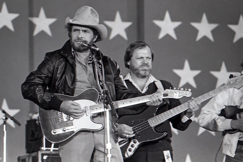 "Country music great Merle Haggard performed ""Folsom Prison Blues"" and ""Natural High"" at the Farm Aid concert at Memorial Stadium in Champaign, Ill. Sept. 22, 1985. [File/The State Journal-Register]"