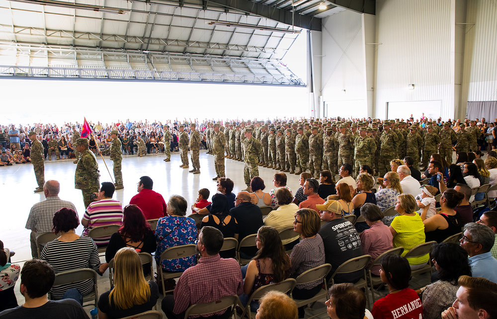 The Illinois Army National Guard's 3637th Maintenance Company stands formation during a deployment ceremony at the LRS Hangar at Abraham Lincoln Capital Airport Sunday, Sept. 24, 2017. [Ted Schurter/The State Journal-Register]