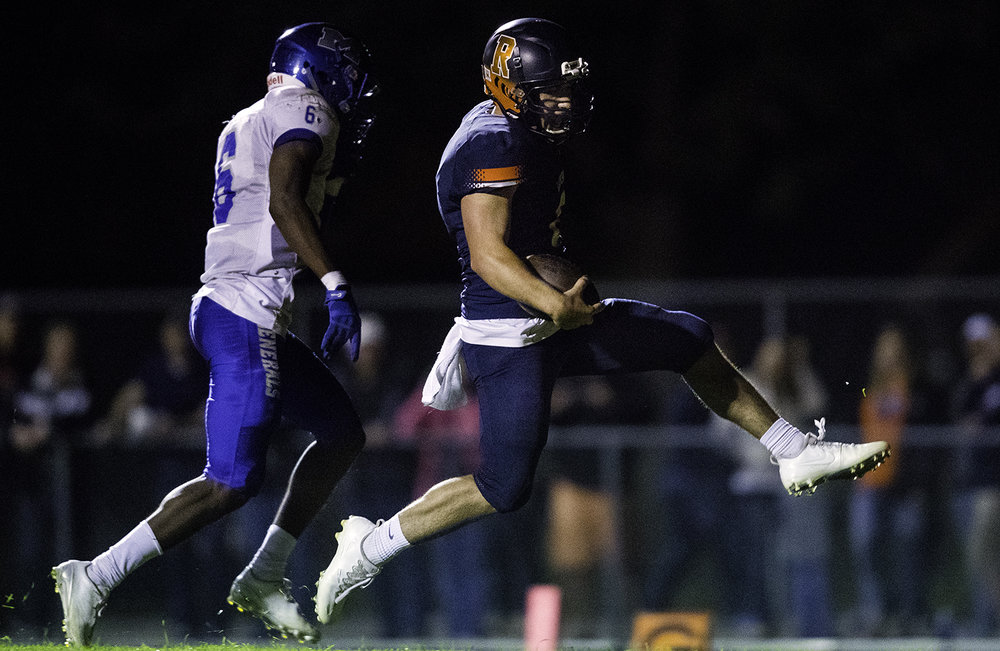 Rochester's Nic Baker struts into the endzone for a second half touchdown at Rochester High School Friday, Sept. 29, 2017. [Ted Schurter/The State Journal-Register]