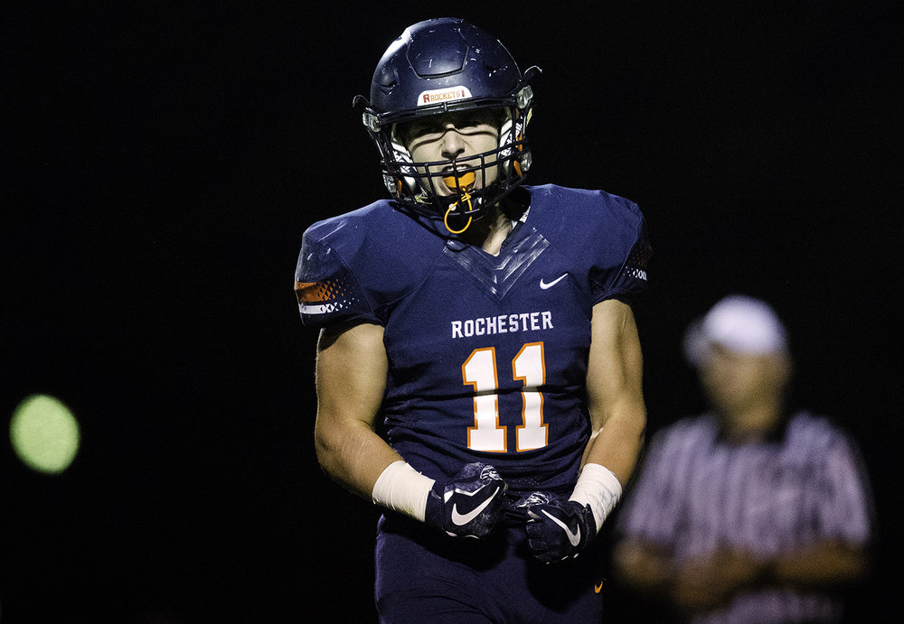Rochester's Skylor Caruso celebrates after a defensive stop at Rochester High School Friday, Sept. 29, 2017. [Ted Schurter/The State Journal-Register]