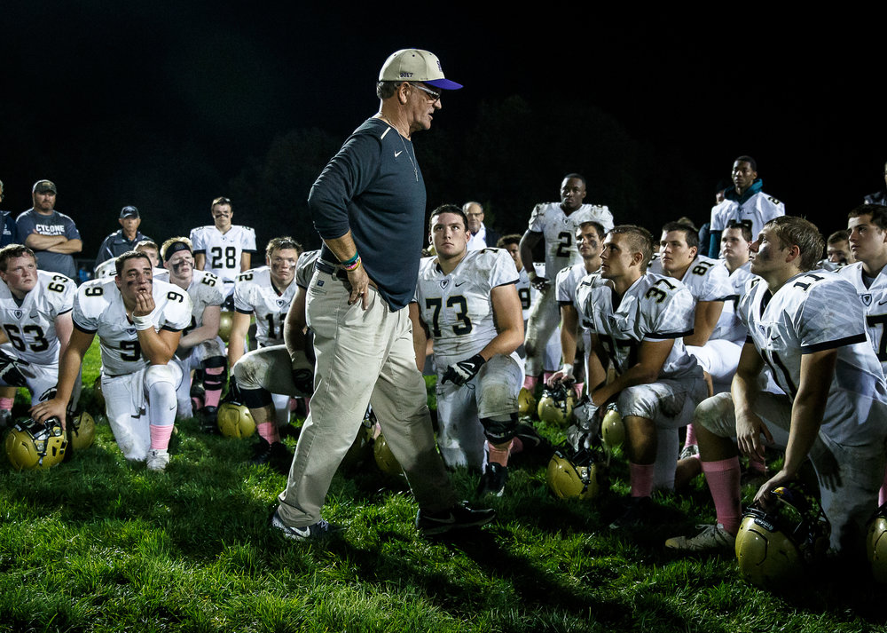Sacred Heart-Griffin head coach Ken Leonard talks to his team after they were defeated 35-28 by Rochester at Rocket Booster Stadium, Friday, Oct. 6, 2017, in Rochester, Ill. [Justin L. Fowler/The State Journal-Register]