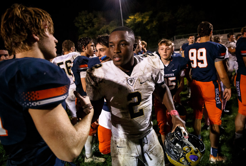 Sacred Heart-Griffin's Tremayne Lee (2) shakes hands with Rochester's Mike McNicholas (85) after the Rockets defeated the Cyclones 35-28 at Rocket Booster Stadium, Friday, Oct. 6, 2017, in Rochester, Ill. [Justin L. Fowler/The State Journal-Register]