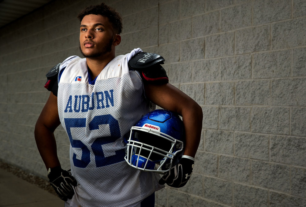 Auburn lineman Anthony Alexander is the only senior on an otherwise very young line. [Ted Schurter/The State Journal-Register]