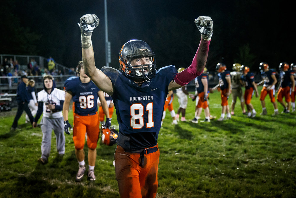 Rochester's Jayden Reed (81) celebrates the Rockets 35-28 victory over Sacred Heart-Griffin at Rocket Booster Stadium, Friday, Oct. 6, 2017, in Rochester, Ill. [Justin L. Fowler/The State Journal-Register]