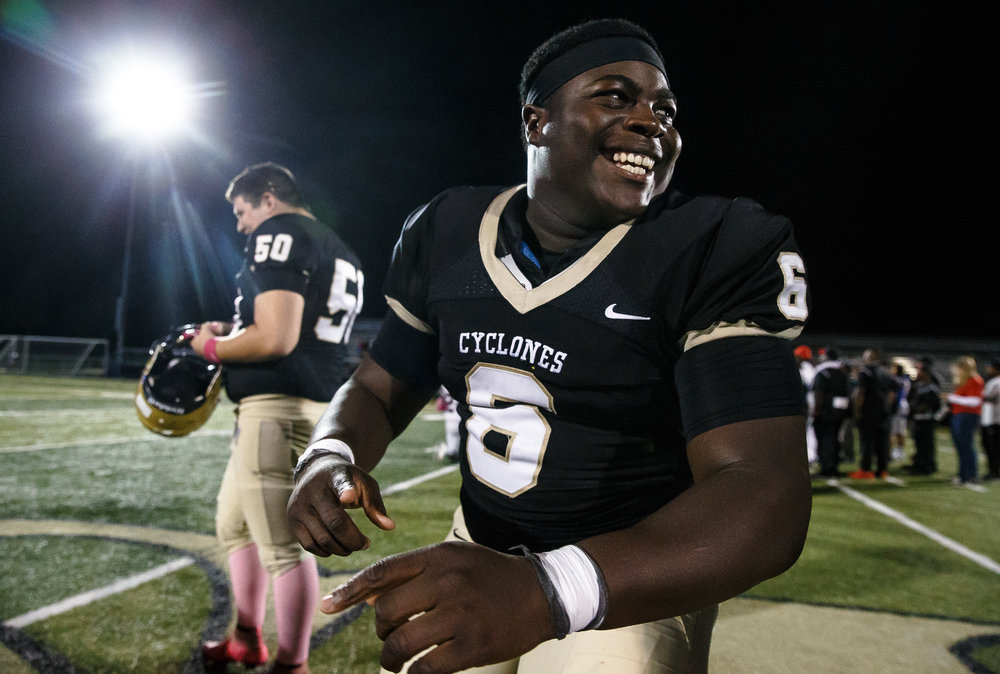 Sacred Heart-Griffin's RJ Gippleah (6) is all smiles after after SHG defeated Springfield 49-7 at Ken Leonard Field, Friday, Oct. 13, 2017, in Springfield, Ill. [Justin L. Fowler/The State Journal-Register]