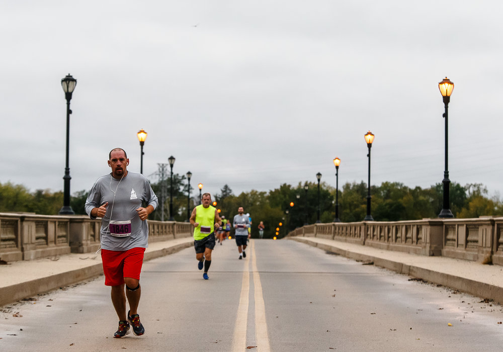 Gusting winds greated the runners as they made their way over the Lindsey Bridge during the 5th annual Springfield Clinic Springfield Marathon, Sunday, Oct. 15, 2017, in Springfield, Ill. The event includes distances of 3/4 marathon, half marathon, quarter marathon and a marathon relay. [Justin L. Fowler/The State Journal-Register]