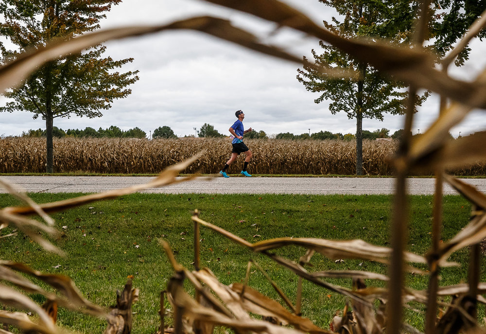 Runners make their way down University Drive to either finish up their day, or begin a second lap, depending on the distance they were competing in during the 5th annual Springfield Clinic Springfield Marathon at the University of Illinois Springfield, Sunday, Oct. 15, 2017, in Springfield, Ill. The event includes distances of 3/4 marathon, half marathon, quarter marathon and a marathon relay. [Justin L. Fowler/The State Journal-Register]