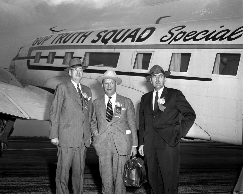 men at airport, GOP Truth Squad Special October 25, 1956. File/The State Journal-Registerpolitics; campaign; archive; spihistory
