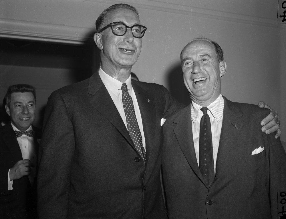 Former Illinois governor and candidate for president, Adlai Stevenson, right, with running mate Sen. Estes Kefauver, in Springfield October 25, 1956. File/The State Journal-Register