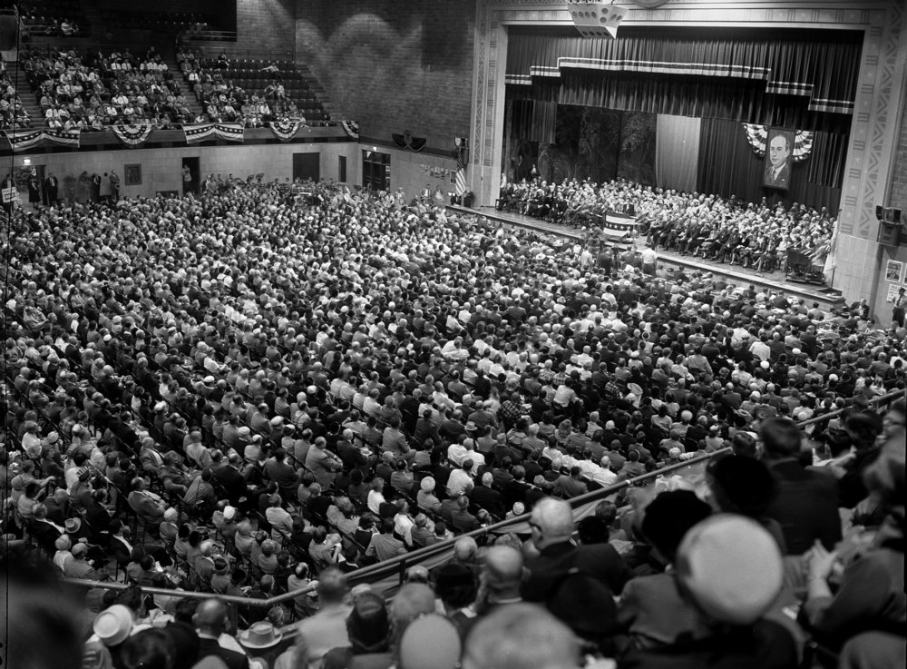 Campaign rally for Adlai Stevenson at the Illinois State Armory, October 25, 1956, less than three weeks before the election. File/The State Journal-Register