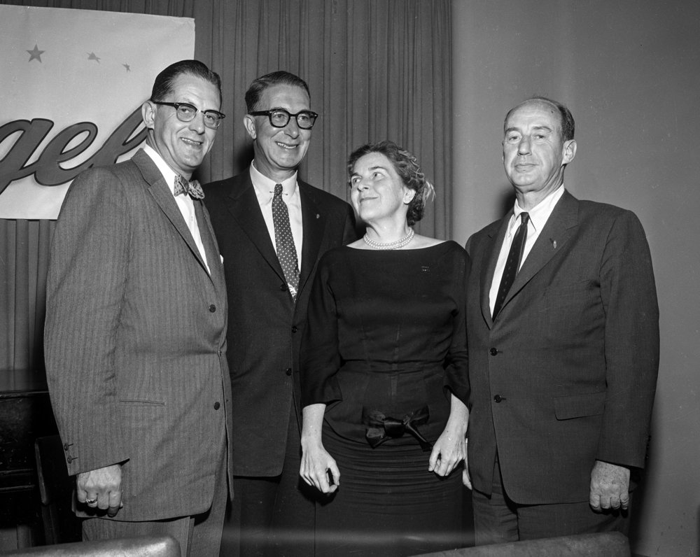 Former Illinois governor and candidate for president, Adlai Stevenson, right, appeared at a $10 a plate fundraiser for U.S. Senate candidate Richard Stengel, left, at the Springfield Elks Club Oct. 25, 1956. Stevenson, who was in Springfield on a campaign stop, traveled with Sen. Estes Kefauver, his running mate, and was also accompanied by Emily Taft Douglas, who represented her husband, Sen. Paul Douglas. [File/The State Journal-Register]