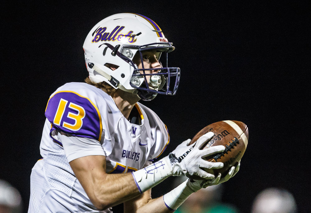 Williamsville's Joseph Mitchell (13) pulls in a touchdown pass against Athens in the first quarter at Athens High School, Friday, Oct. 20, 2017, in Athens, Ill. [Justin L. Fowler/The State Journal-Register]