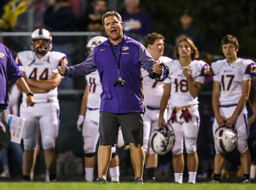 Williamsville head football coach Aaron Kunz calls out as his defense misses a play call against Athens in the second quarter at Athens High School, Friday, Oct. 20, 2017, in Athens, Ill. [Justin L. Fowler/The State Journal-Register]