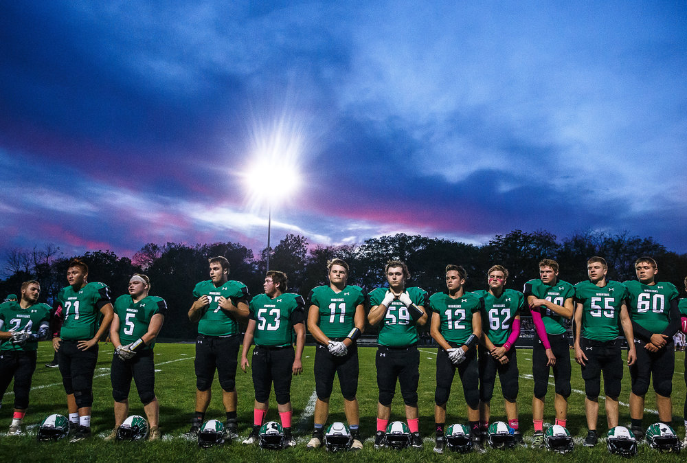 The Athens Warriors line up to honor their seniors prior to taking on Williamsville at Athens High School, Friday, Oct. 20, 2017, in Athens, Ill. [Justin L. Fowler/The State Journal-Register]