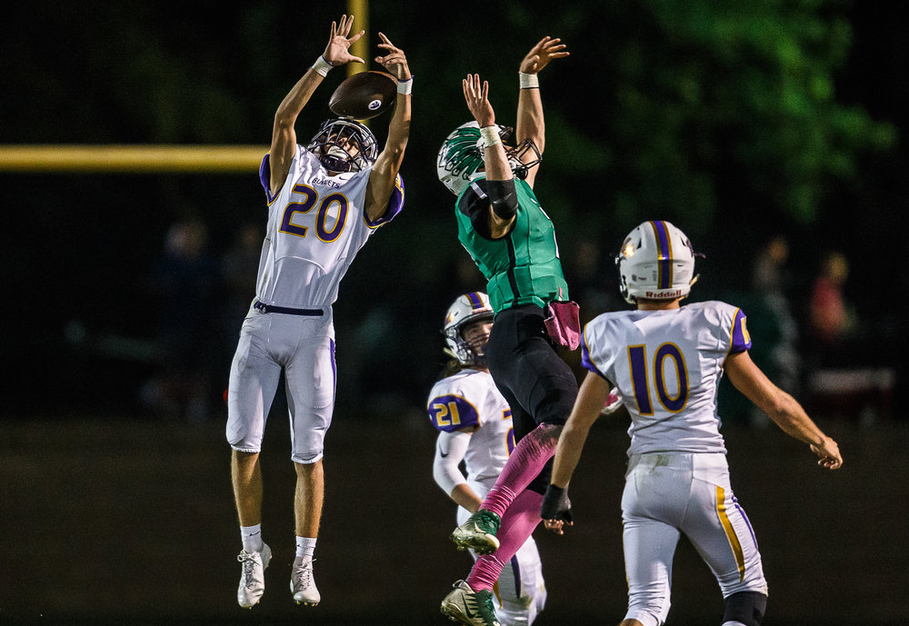 Williamsville's Tristan Trent (20) intercepts a pass intended for Athens' Drayton Davis (7) in the third quarter at Athens High School, Friday, Oct. 20, 2017, in Athens, Ill. [Justin L. Fowler/The State Journal-Register]