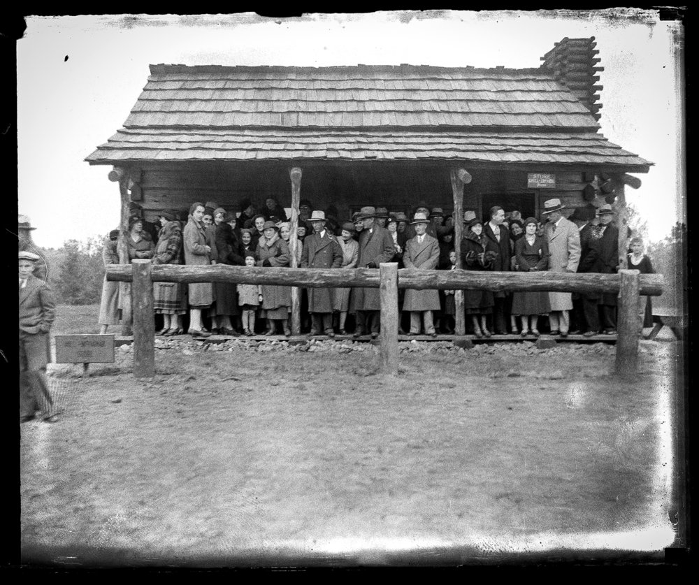 Group at New Salem. Illinois State Journal/Register glass plate negative/Sangamon Valley Collection at Lincoln Library  C-98-033   VF 2006-267  1/2