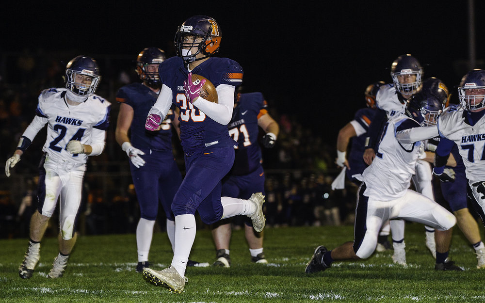 Rochester's Zach Gleeson trots into the endzone for a second quarter touchdown against Prairie Central at Rochester High School Friday, Oct. 27, 2017. [Ted Schurter/The State Journal-Register]