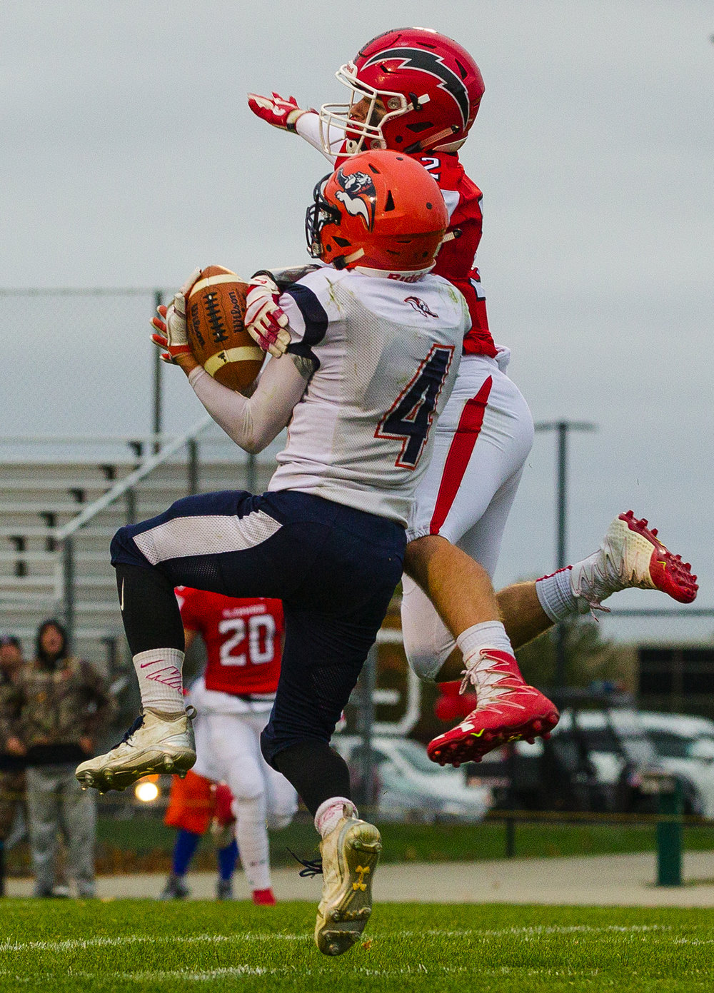 Glenwood's Jake Wooldridge defends Mahomet-Seymour's Dylan Gates as he attempts to catch a pass during the IHSA Class 5A football playoffs at Chatham Glenwood Saturday, Oct. 28, 2017. [Ted Schurter/The State Journal-Register]