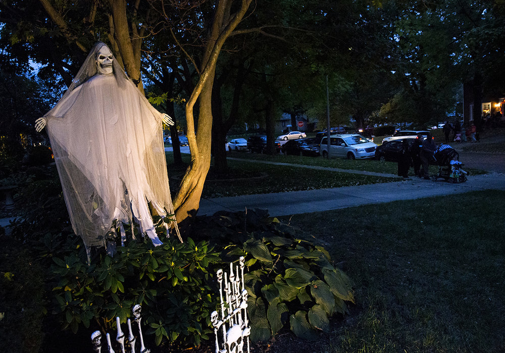A ghostly skeleton adds to the Halloween mood on South Glenwood Avenue Tuesday, Oct. 31, 2017. [Rich Saal/The State Journal-Register]