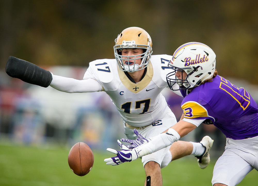 Bloomington Central Catholic's James Morris (17) defends a pass against Williamsville's Joseph Mitchell (13) in the first quarter during the second round of the IHSA Class 3A Playoffs at Paul Jenkins Field, Saturday, Nov. 4, 2017, in Williamsville, Ill. [Justin L. Fowler/The State Journal-Register]