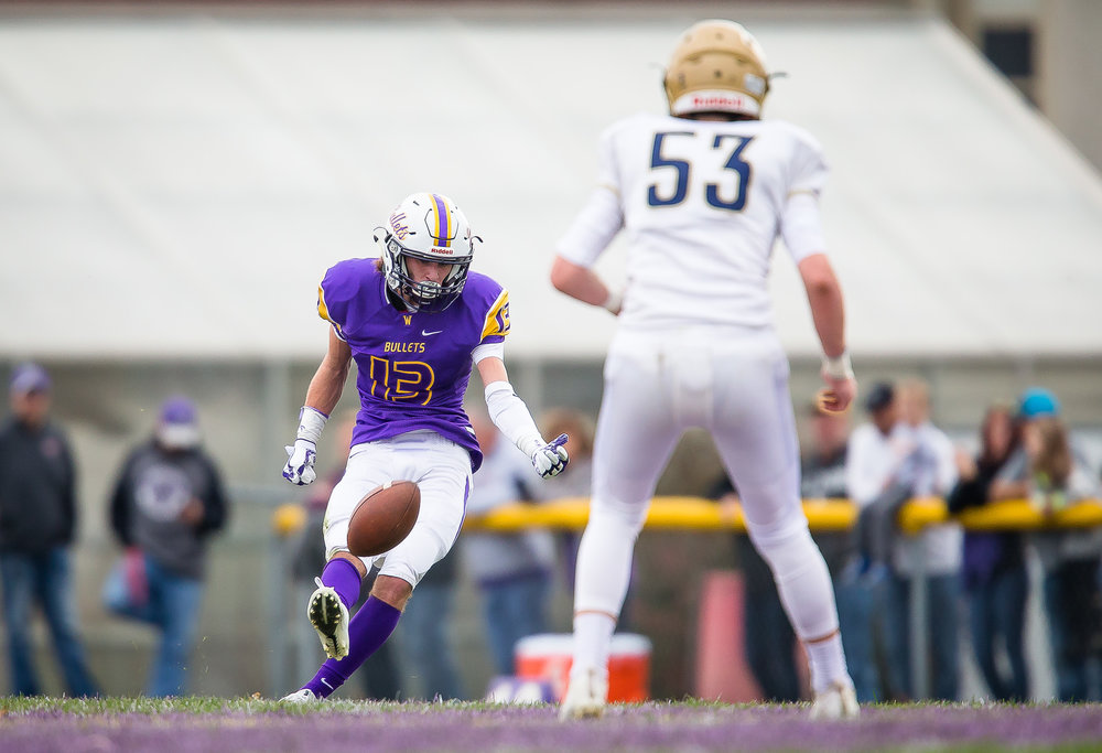 Williamsville's Joseph Mitchell (13) kicks the ball off after against Bloomington Central Catholic in the second quarter during the second round of the IHSA Class 3A Playoffs at Paul Jenkins Field, Saturday, Nov. 4, 2017, in Williamsville, Ill. [Justin L. Fowler/The State Journal-Register]
