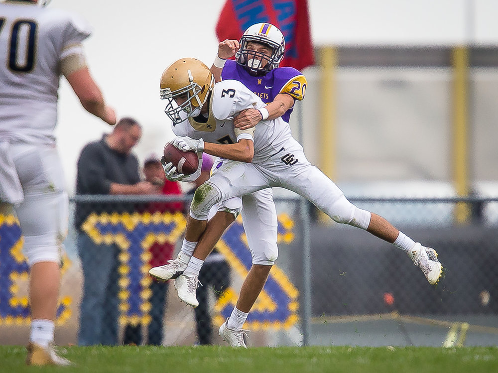 Bloomington Central Catholic's Austyn Ellison (3) makes a touchdown catch in front of Williamsville's Tristan Trent (20) in the second quarter during the second round of the IHSA Class 3A Playoffs at Paul Jenkins Field, Saturday, Nov. 4, 2017, in Williamsville, Ill. [Justin L. Fowler/The State Journal-Register]