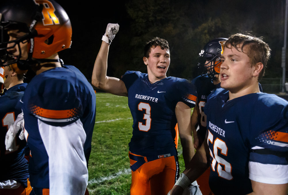 Rochester's Devid Allen (3) celebrates the Rockets 41-23 victory over Belleville Althoff in the second round of the IHSA Class 4A Playoffs at Rocket Booster Stadium, Saturday, Nov. 4, 2017, in Rochester, Ill. [Justin L. Fowler/The State Journal-Register]