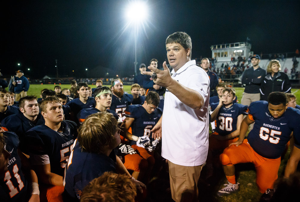 Rochester football head coach Derek Leonard talks to his team after the Rockets defeated Belleville Althoff 41-23 in the second round of the IHSA Class 4A Playoffs at Rocket Booster Stadium, Saturday, Nov. 4, 2017, in Rochester, Ill. [Justin L. Fowler/The State Journal-Register]
