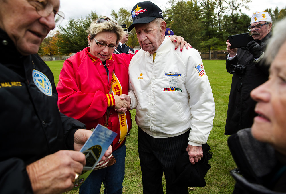 Melanie Schaler shakes hands with Gold Star father John Hensley at the conclusion of a groundbreaking for Gold Star Families Memorial Monument at Oak Ridge Cemetery in Springfield Monday, Oct. 30, 2017. Hensley's son Jim was killed in Vietnam on September 1969. [Ted Schurter/The State Journal-Register]